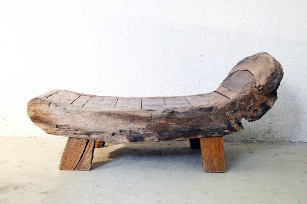 chaise longue sofa in legno massello di Teak isole Sulawesi Tribù Toraja
