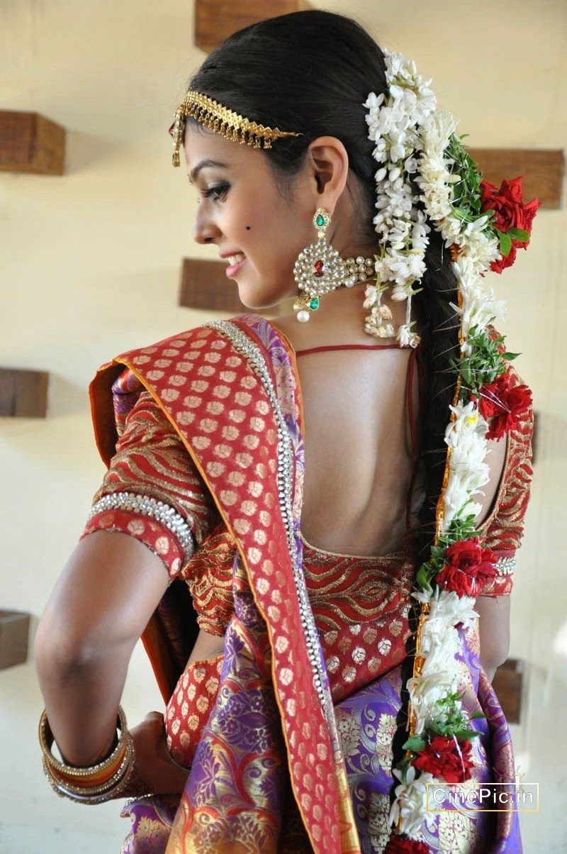 Marriage ornaments - Actress Chandini Tamilarasan In Bridal Saree Ornaments Back View Actress Cinepic In