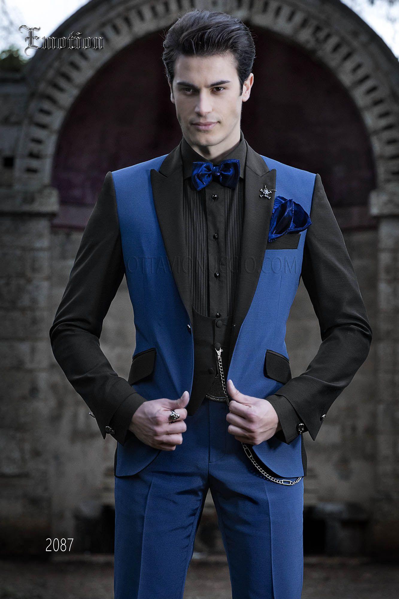 Abito da sposo uomo moderno blu elettrico e nero. Completo ONGala 2087 60915c3f8e2