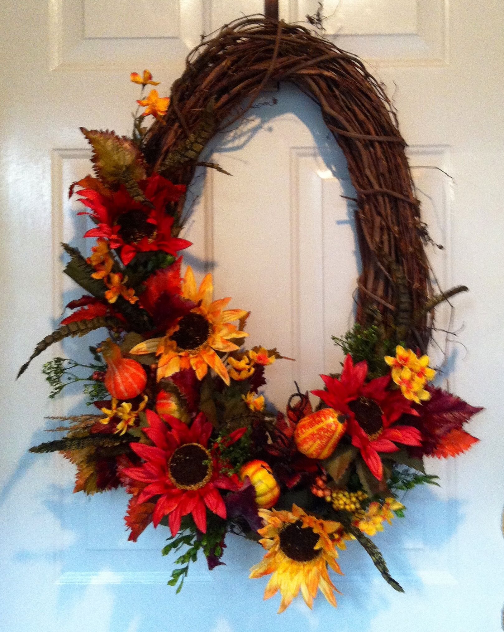 Oval fall wreath i made holidays and events pinterest Fall autumn door wreaths