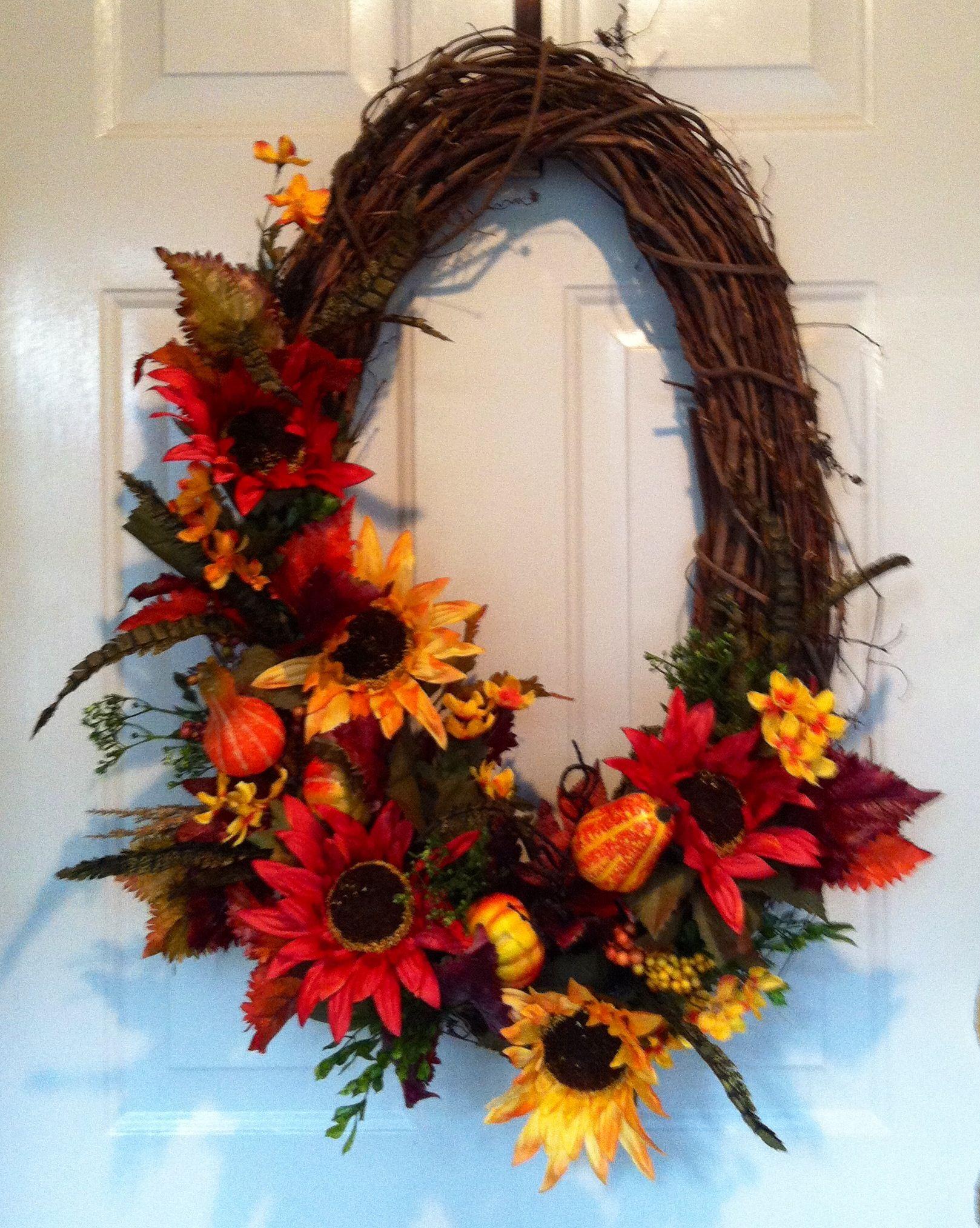 Oval Fall Wreath I Made