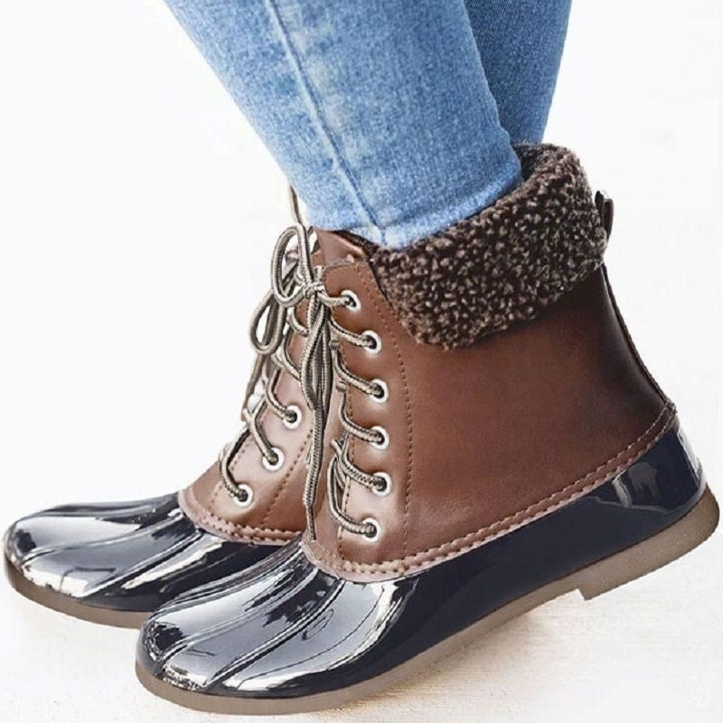 66d31a19c3b BLOCK HEEL COLOR BLOCK LACE-UP FRONT ROUND TOE CASUAL BOOTS  Flat Boots