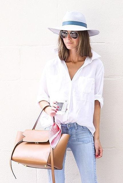 Trusty staples that never fail: an easy, breezy white shirt and perfect-fitting jeans.