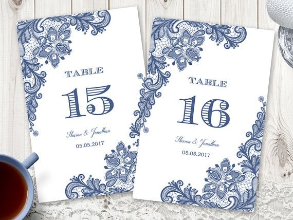 Vintage style wedding table numbers template Vintage Lace in navy blue color. DIY printable template.