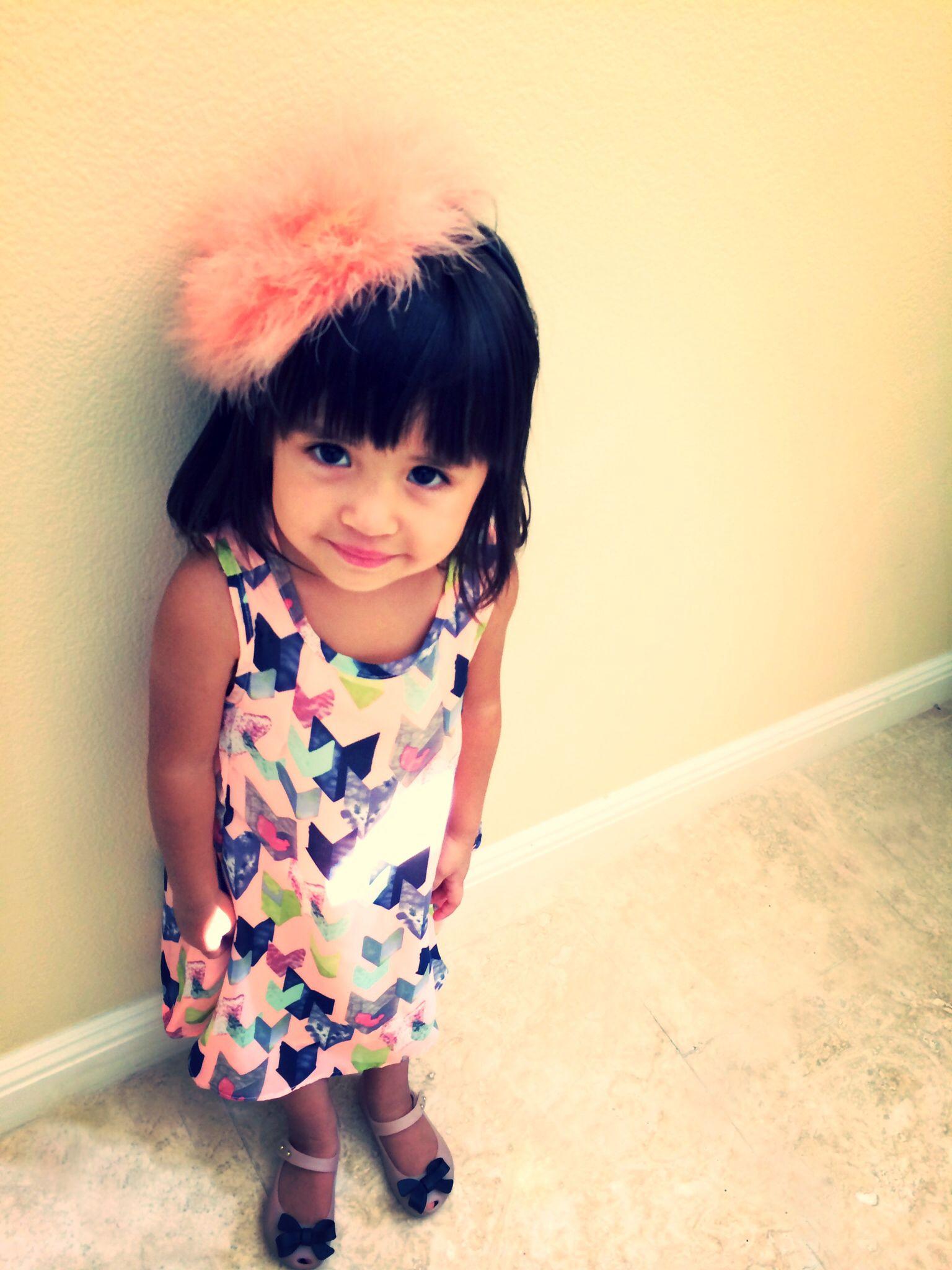 Kids chiffon pink arrow dress u powder puff headband to match to