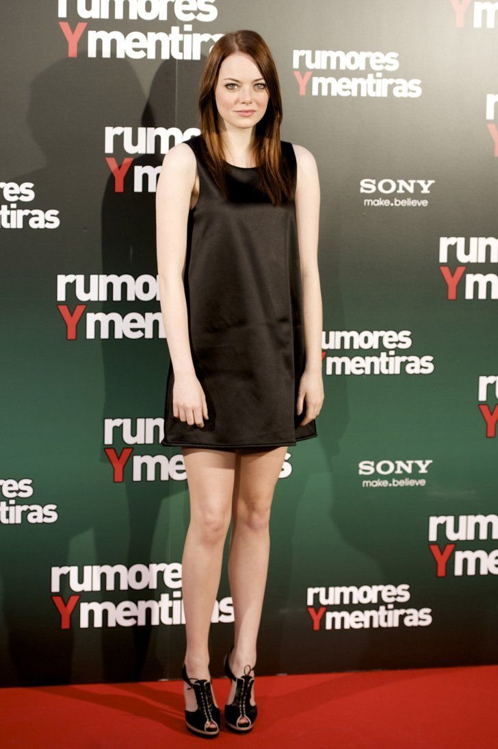 Pin for Later: 79 Big Reasons to Celebrate Emma Stone's Style  Update a black shift with a pair of statement heels, à la Emma.