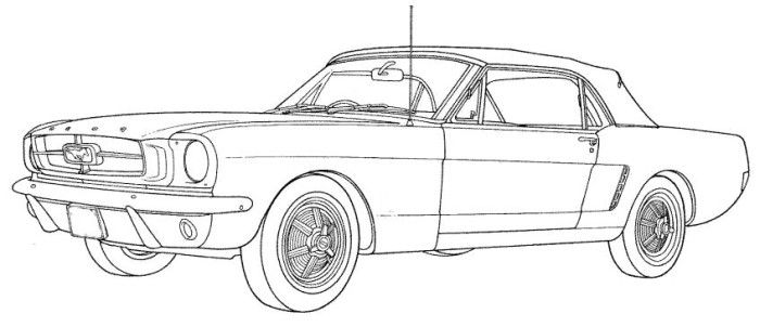 ford mustang classic coloring page