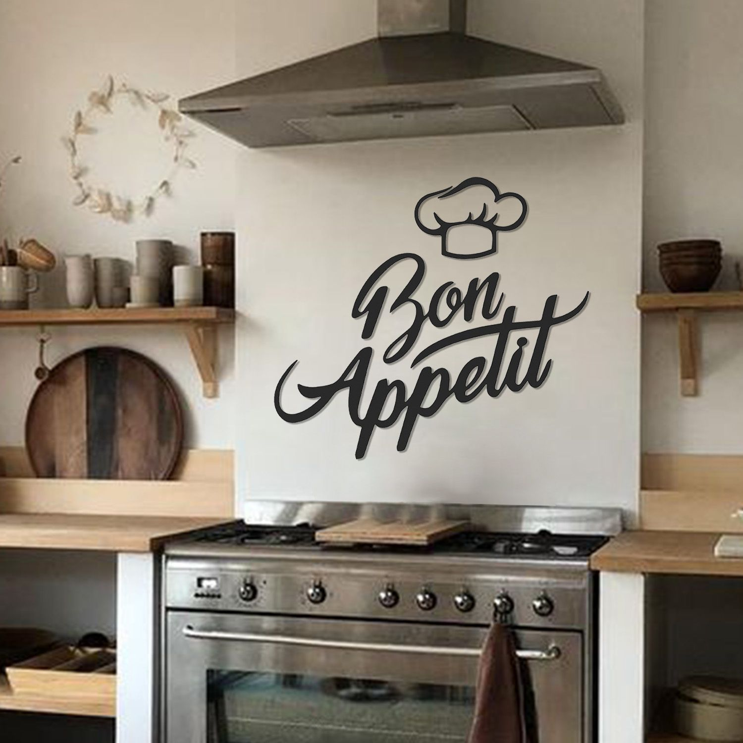 Bon Appetit Metal Wall Art Apt378 Black In 2020 Metal Walls Kitchen Wall Decor Metal Wall Art
