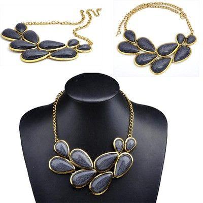 Vintage Fashion Women Lady Big Gemstone Pendant Golden Chain Necklace Bib Collar