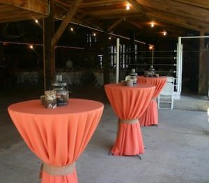 Coral Cocktail Tables With Burlap Ties!    #bistrotable #cocktailhour