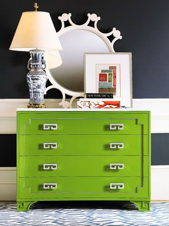 Oscar de la Renta for Century Furniture. Greek Key Chest shown in Fern finish.