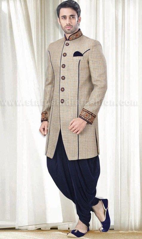 Mens wear asian wedding wear groom sherwani cream indo for Indo western wedding dress for men