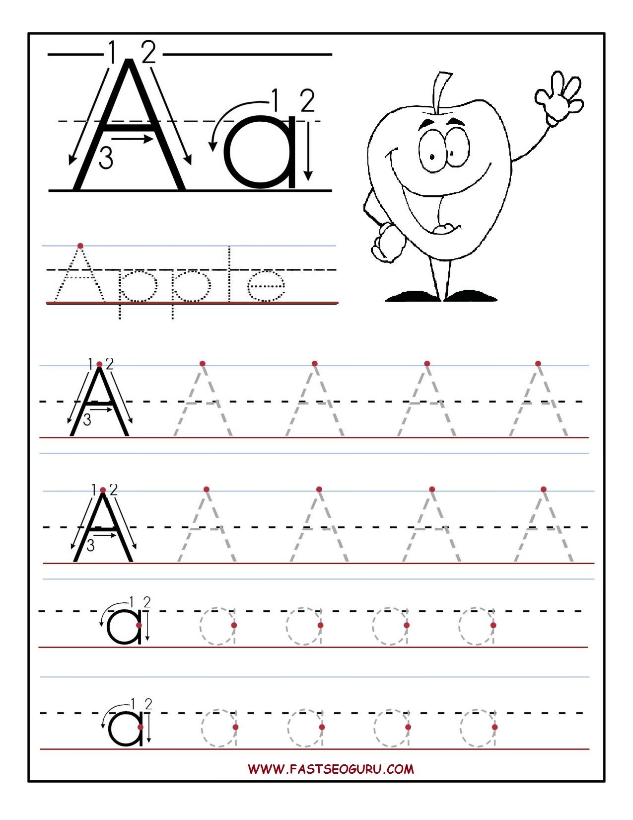 bFreeb bPrintableb letter A tracing bworksheetsb – Free Alphabet Tracing Worksheets
