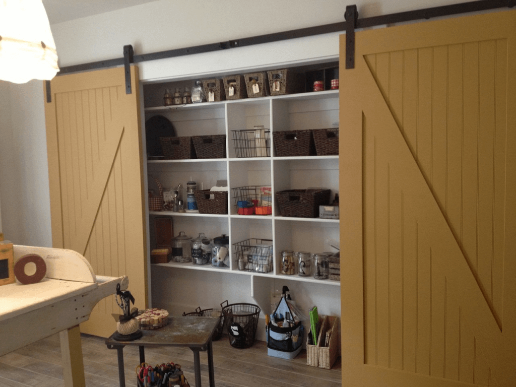 Garage Storage With Sliding Door Basement Storage Shelves Doors