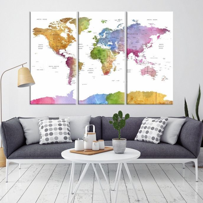 World Map Wall Art World Map Push Pin Travel Push Pin