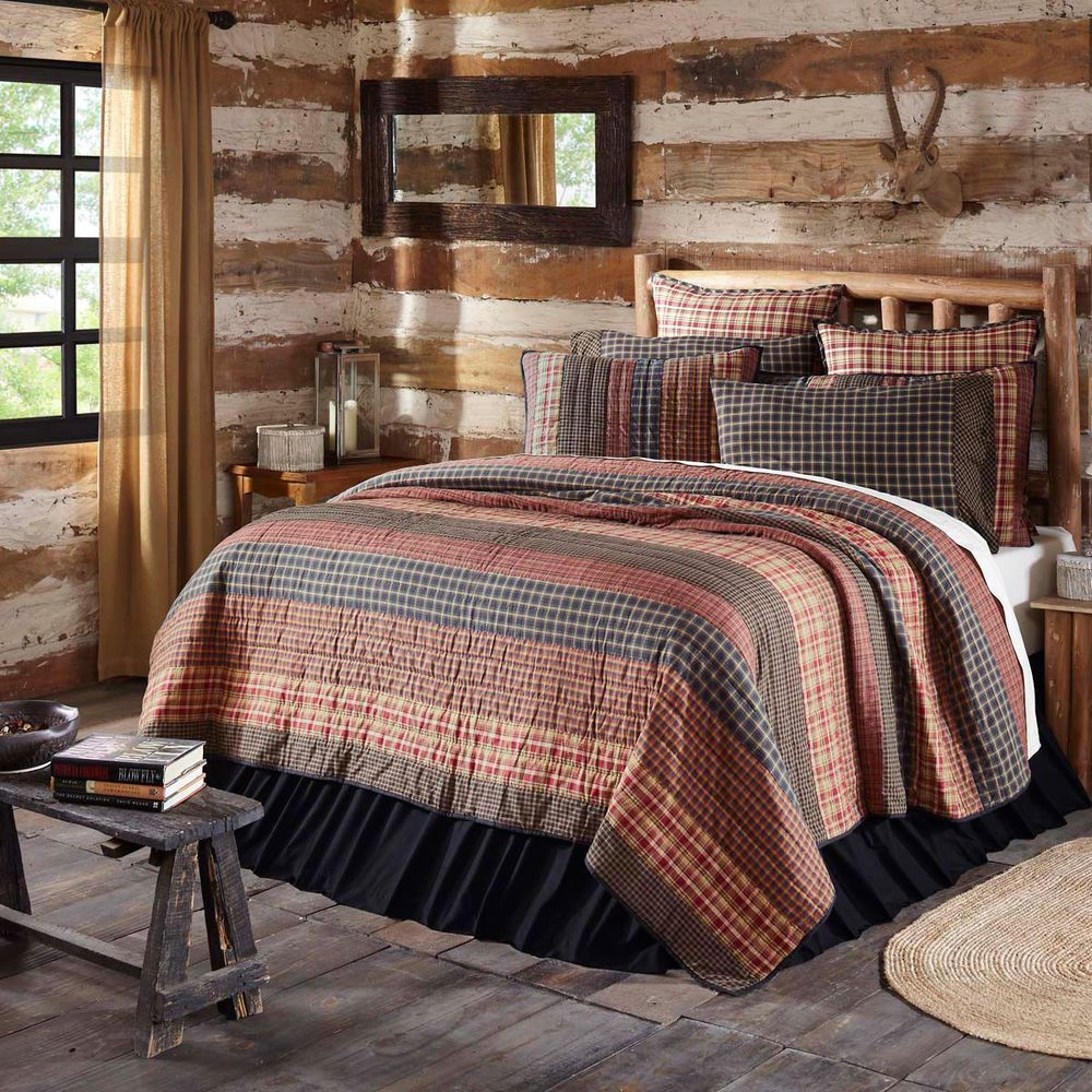 Primitive Quilt King Size Black Tan Cream Burgundy Rustic Plaid 105 X 95 Inch Vhcbrands Rusticprimitive Cabin Bedroom Decor King Quilt Rustic Quilts