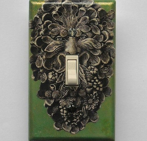 Green Man A Mixed Media SINGLE toggle switchplate & by marimakings, $9.00