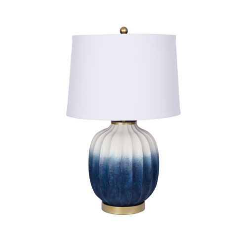 Catalina White and Blue Ombre Texture One-Light LED Table Lamp