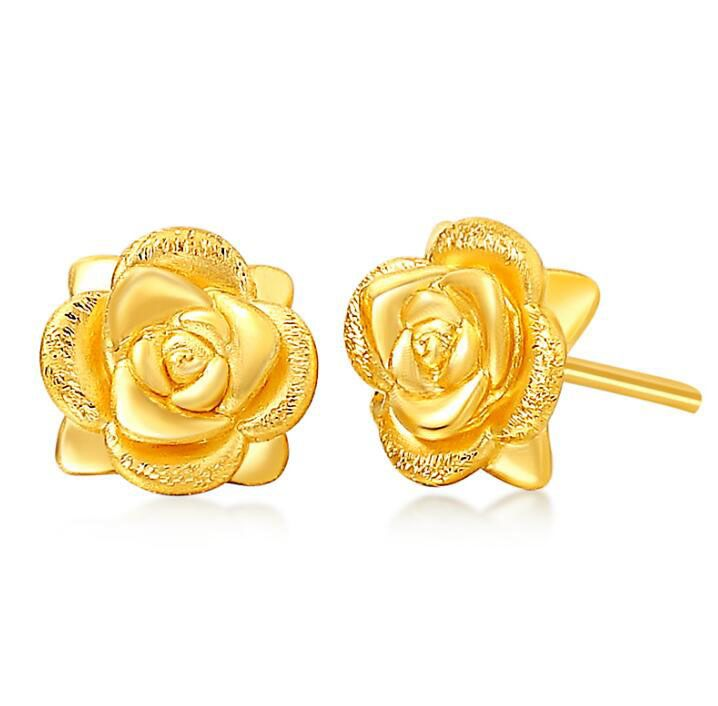 Price Tracker And History Of Real Solid Yellow Gold Earrings Women S Rose Flower Stud