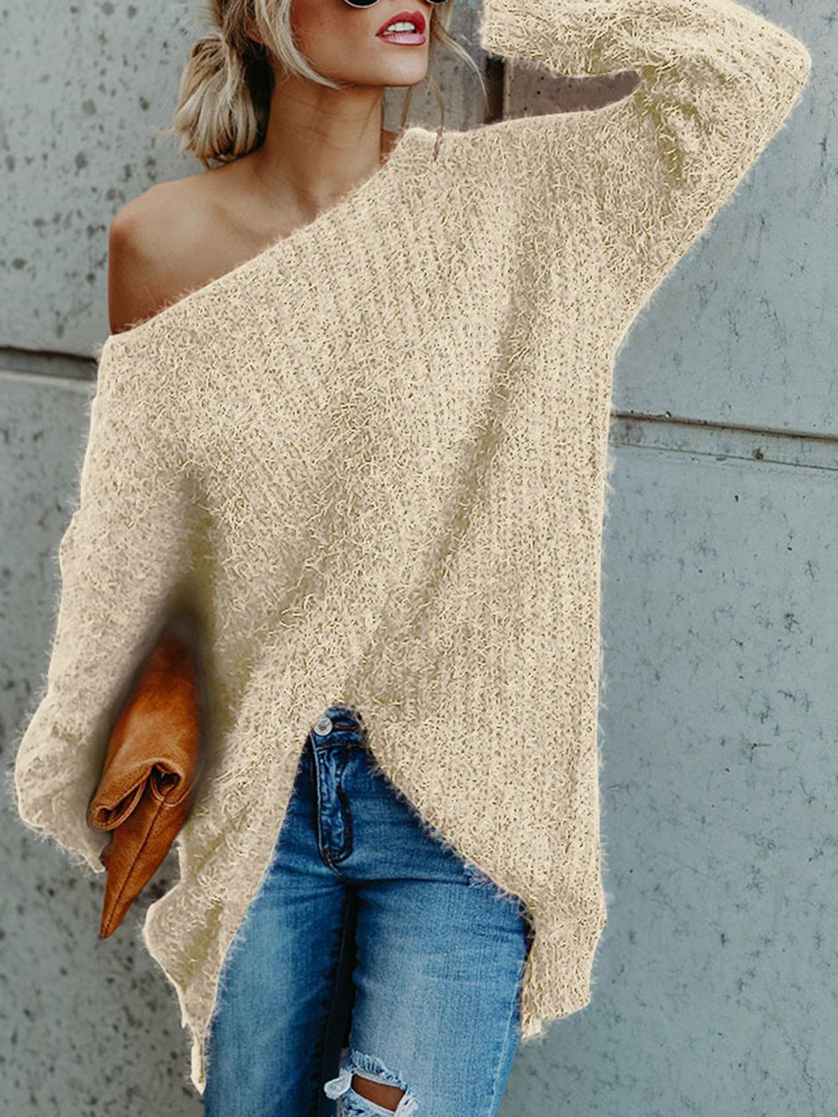 0bb5f33fb9d Long Sleeve Casual Solid Crew Neck Sweater Cold Shoulder Sweater, Loose  Sweater, Long Sleeve