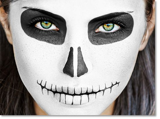 paint a sugar skull in photoshop for halloween - Skeleton Face Paint For Halloween