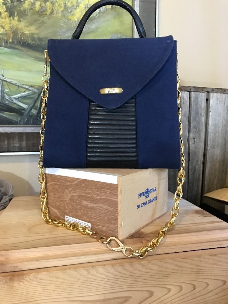 Texier Vintage Handbag Gold Chain Blue Leather Accents Handle France