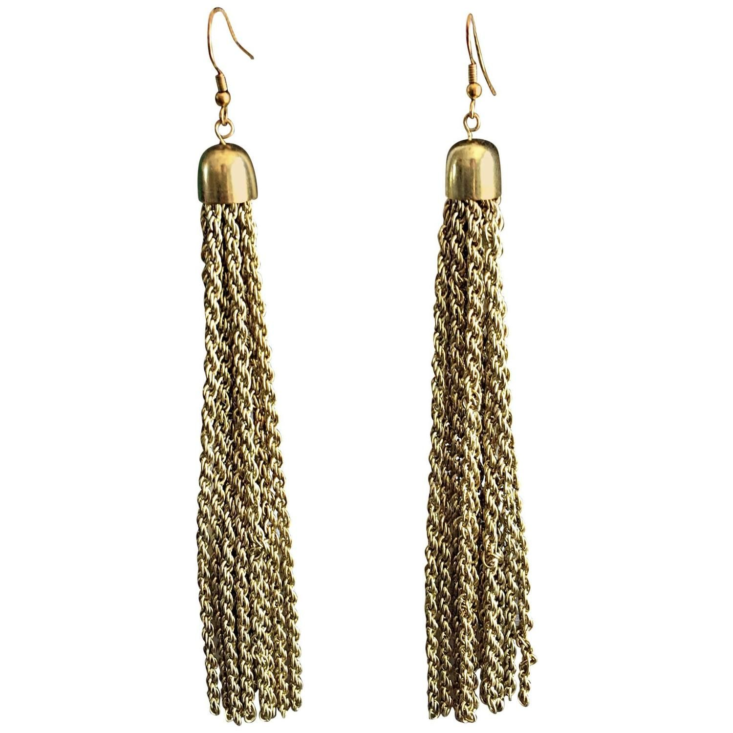 87414d076 1970s 70s Vintage Tassel Gold Brushed Brass Long Disco Chain Earrings |  From a unique collection