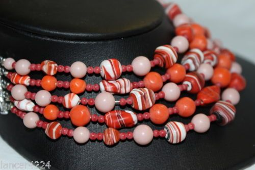 VINTAGE-FIVE-STRAND-CORAL-AND-AGATE-VENETIAN-ART-GLASS-NECKLACE