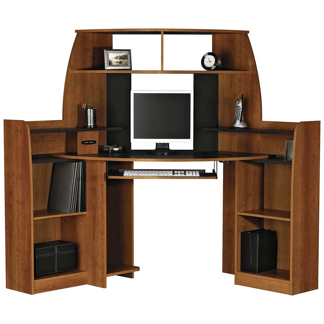 Solid Wood Corner Computer Desk With Double Storage My Kas - Computer desk with hutch plans