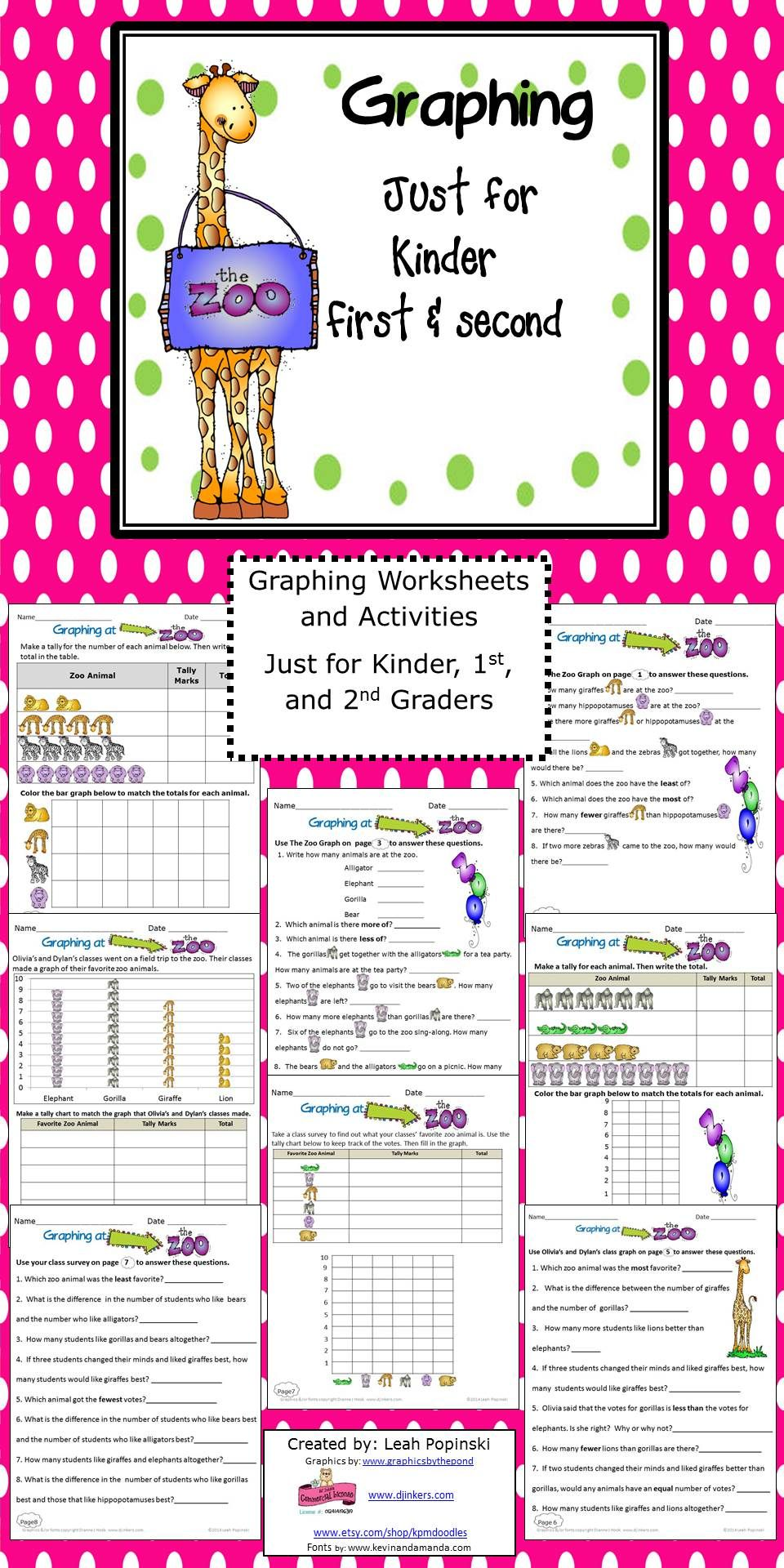 Activities And Worksheets To Strengthen And Practice Graphing Skills With A Fun Zoo Theme Adorable Graphics Education Math Graphing Activities Math Activities