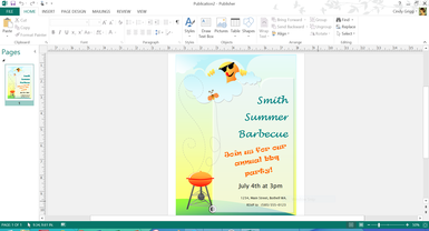 Summer Barbeque Invitation Template For Microsoft Publisher