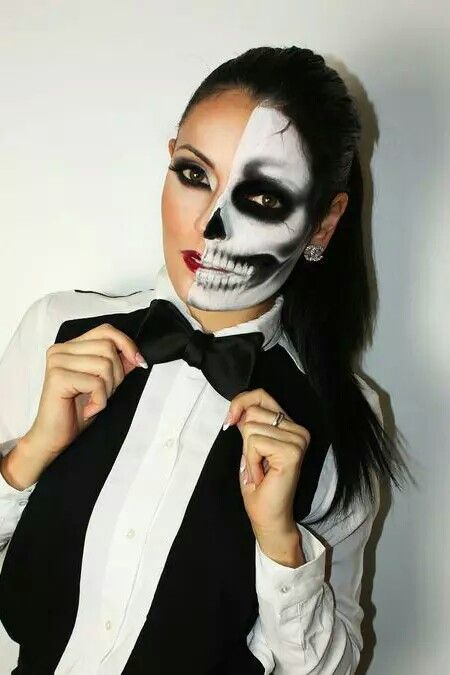 half skull girl costume idea from 10 more incredible halloween makeup my modern met