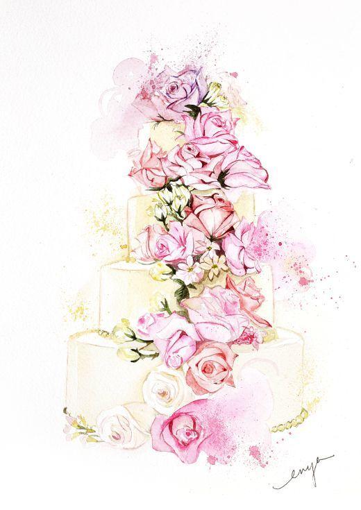 Wedding Cake In 2020 Cake Drawing Wedding Cake Illustrations