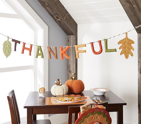 Thankful Garland Thanksgiving Kids Table Christmas