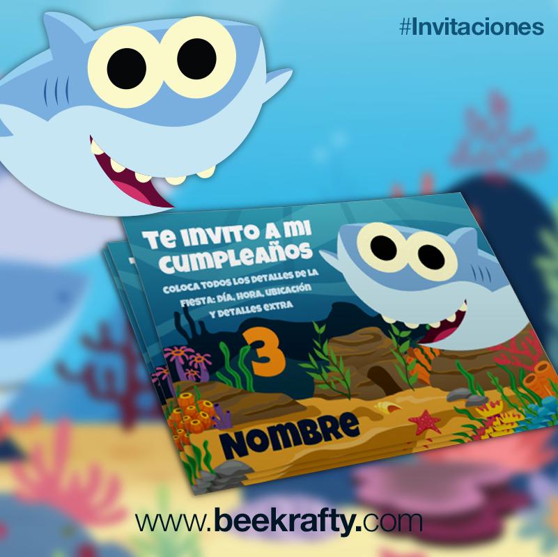 Invitaciones Imprimibles De Baby Shark Para Que Las