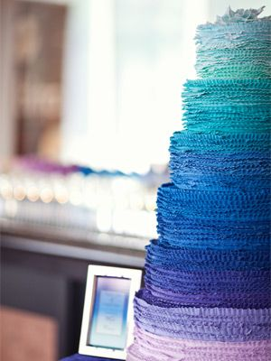 Ombre Wedding Wonders.... stunning six-tiered wedding cake was the perfect centerpiece to the room.Ombre Wedding Cake Blue!
