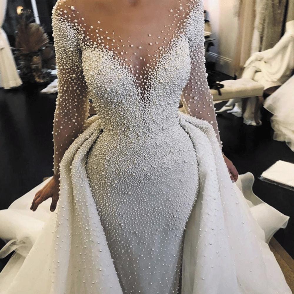 Luxury Wedding Dresses 2020 Detachable Skirt Peals Beaded Long Sleeve Elegant Wedding Gown Vestido De Noiva Wedding Dress Long Sleeve Wedding Dresses Beaded Cheap Wedding Dress