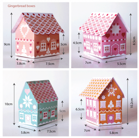 gingerbread house gift box template  7 gift box printable templates! | Gingerbread house ...