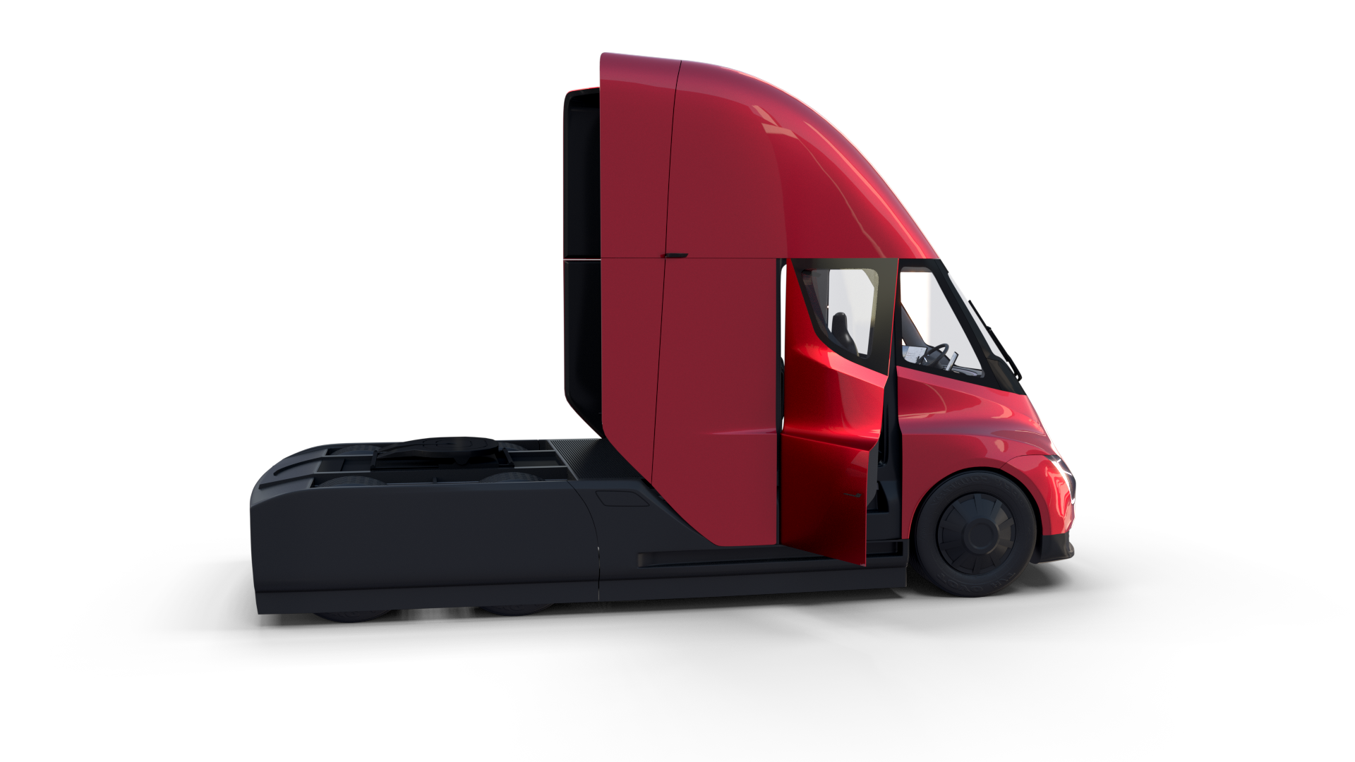 Tesla Truck With Chassis Interior And Trailer Red Tesla Trucks Semi Trailer