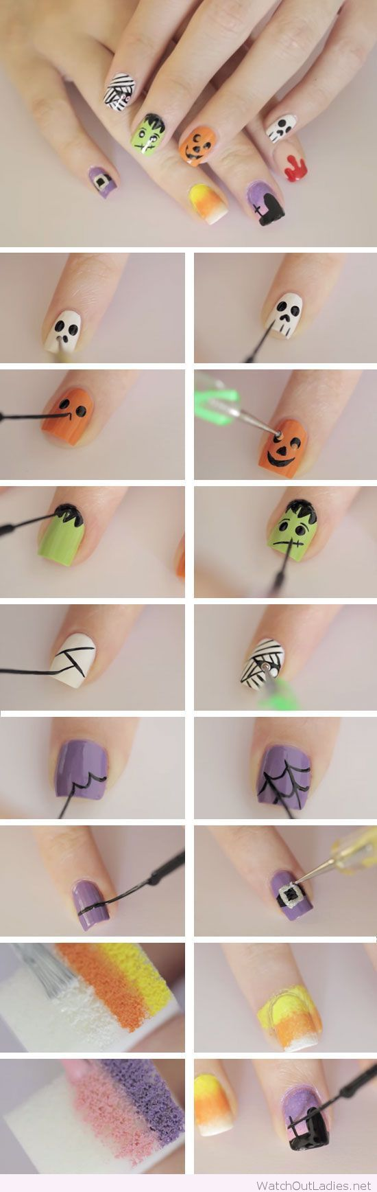 Ghoulish shapes and figures for Halloween | Nageldesign | Pinterest ...