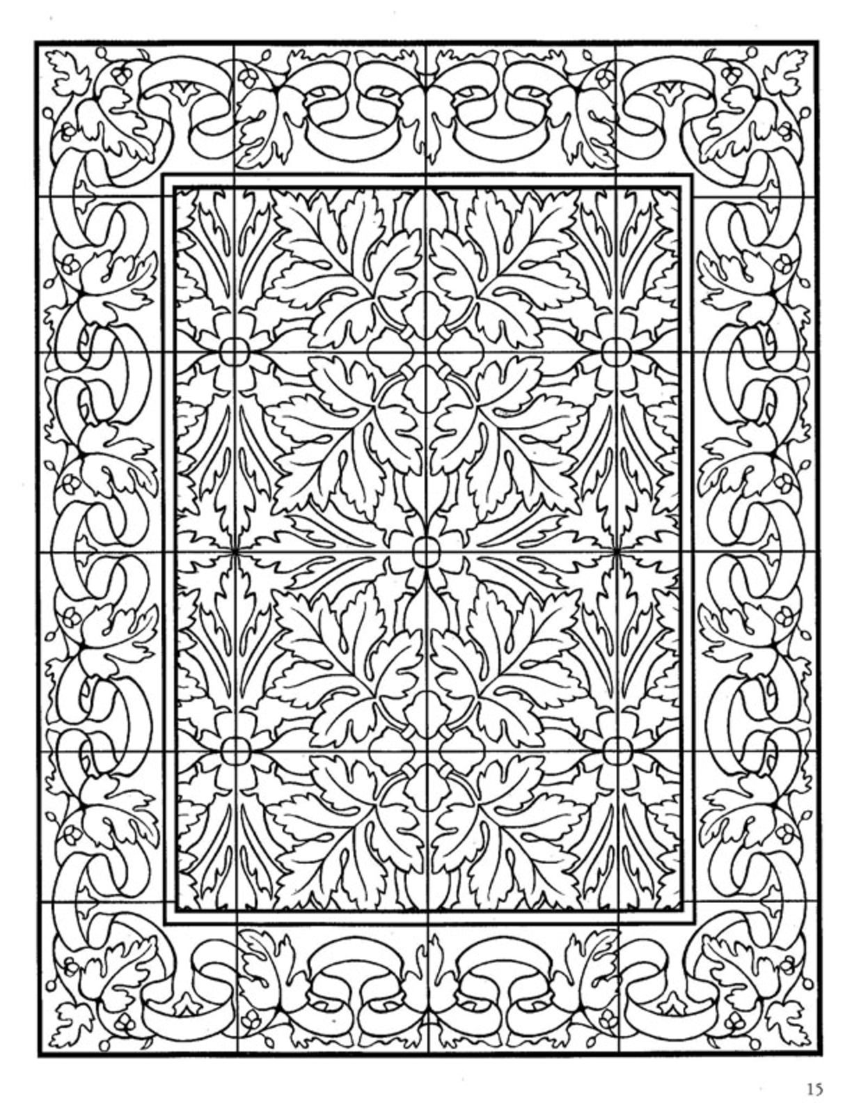 zentangle tile template - dover decorative tile coloring book dover coloring