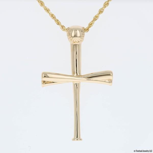 Gold 2 0 Fivetool Baseball Bat Cross Pendant Baseball Jewelry Cross Pendant Pendant