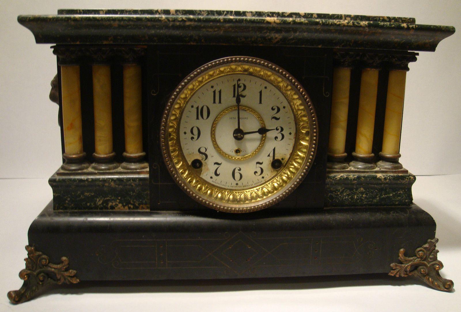Antique Seth Thomas Adamantine 6 Column Lion Head Mantle Clock