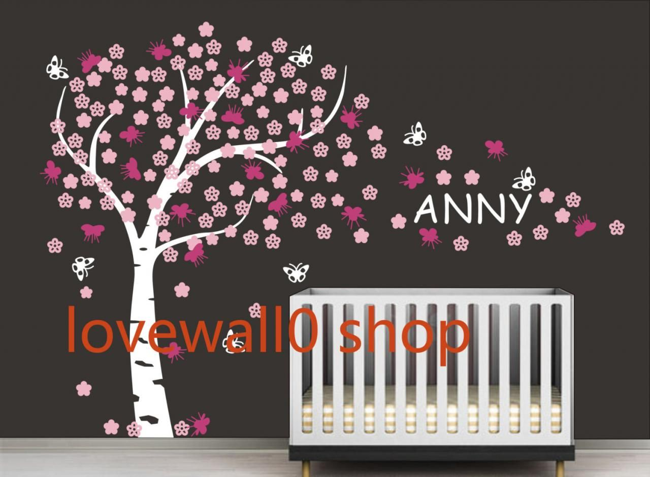 Vinyl Cherry Blossom Tree Wall Decal Nursery Kids Custom Name Decals Tree Butterfly  Wall Sticker Home Part 41