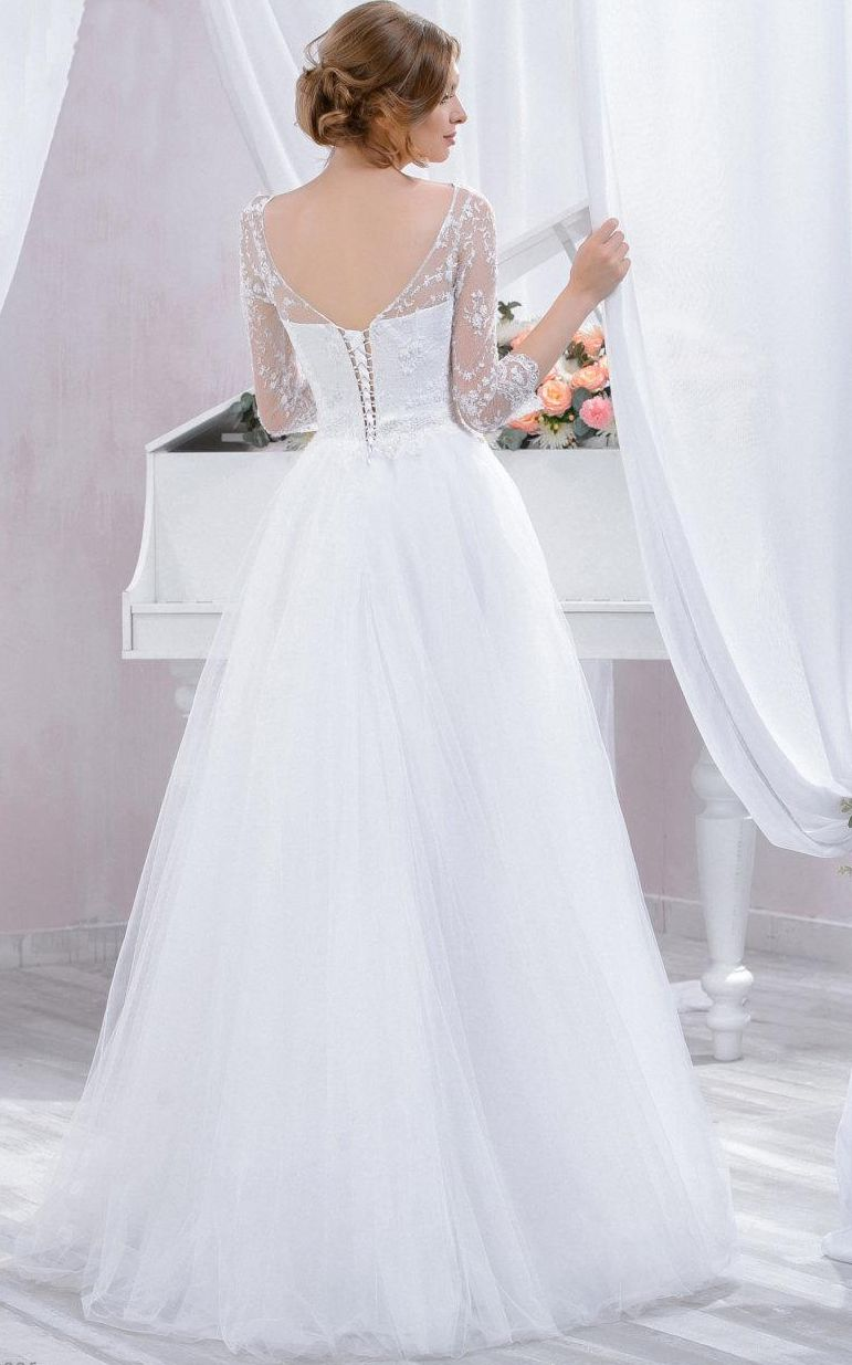 sleeve tulle lace dress with beading wedding dress princess