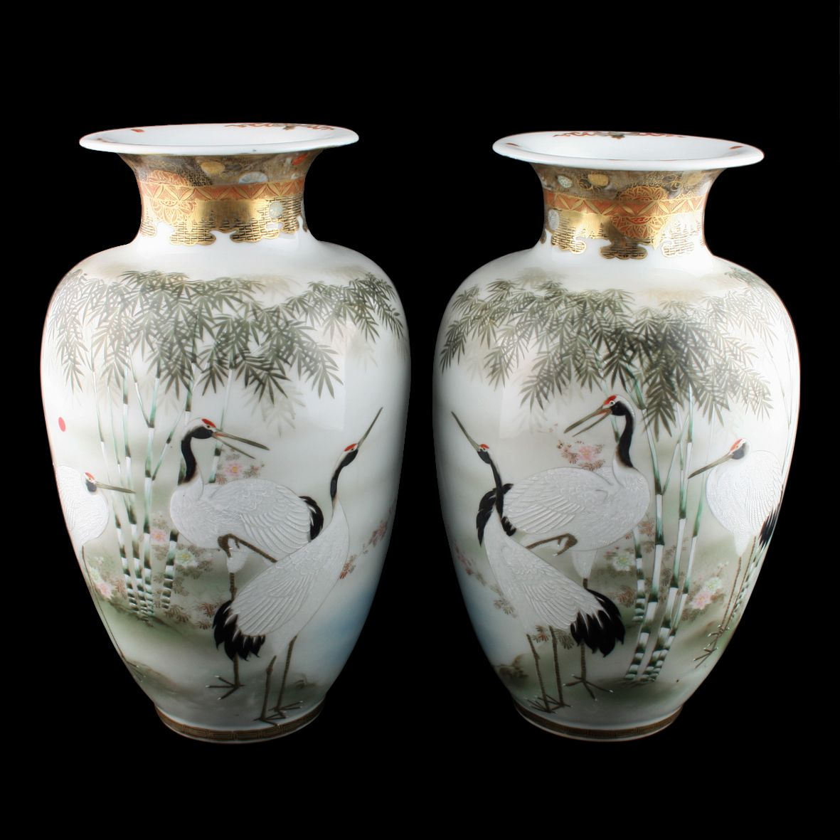 Large Pair of Japanese Kutani Vases
