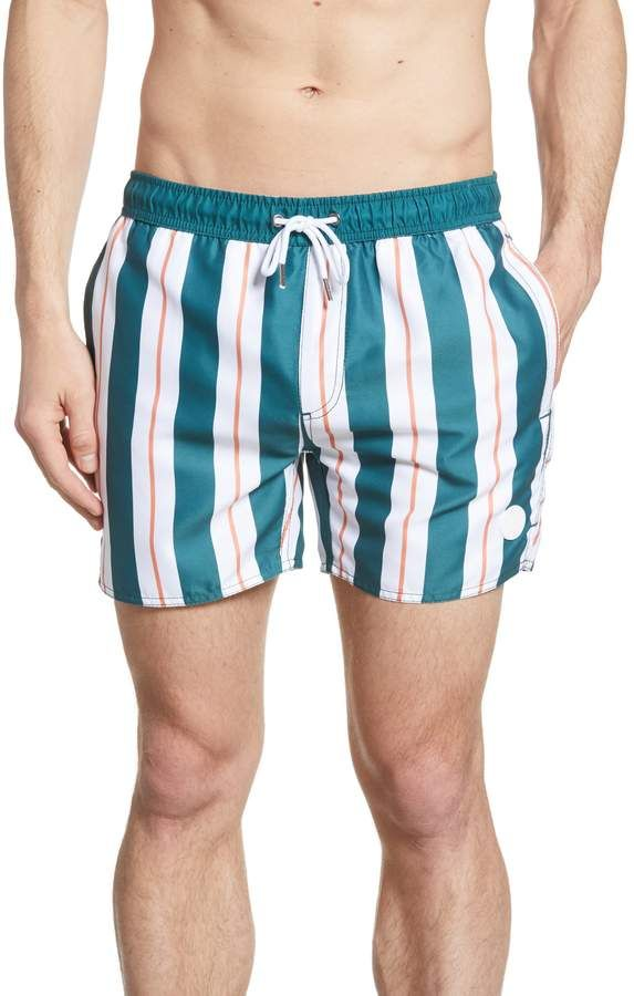 Mens Swim Trunks Blue Shire Toile Quick Dry Beach Board Shorts with Mesh Lining