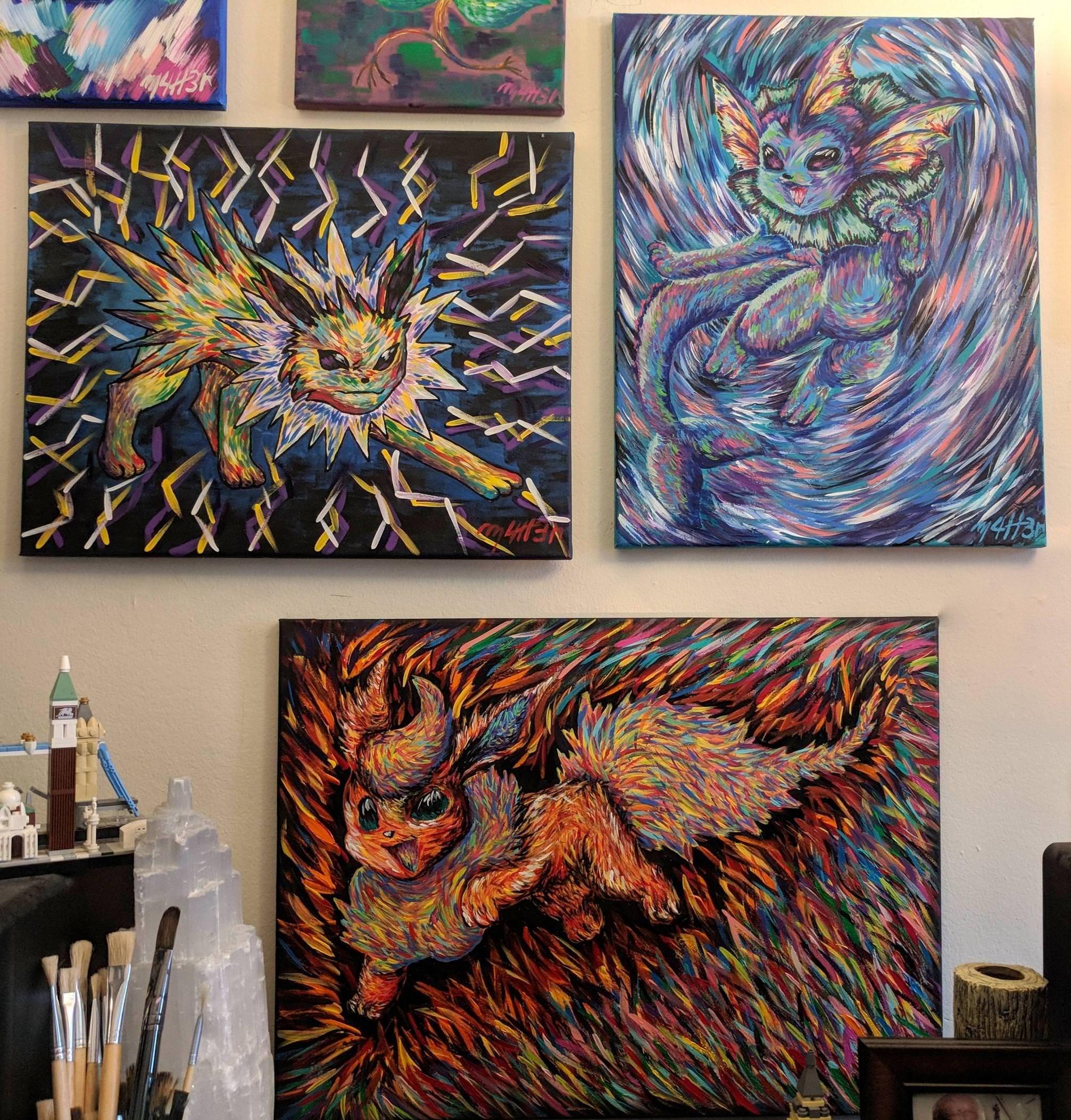 First 3 Eeveelutions painted!