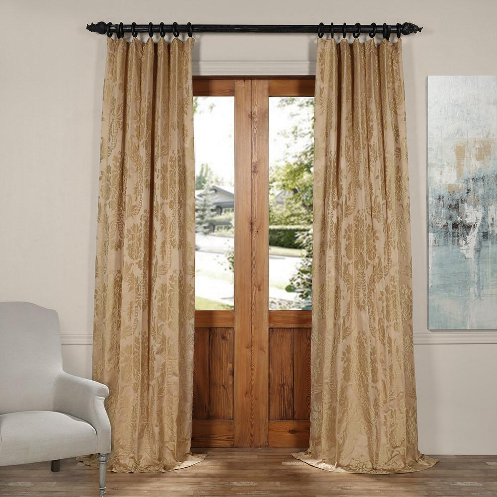 Exclusive Fabrics Furnishings Magdelena Beige And Gold Faux Silk
