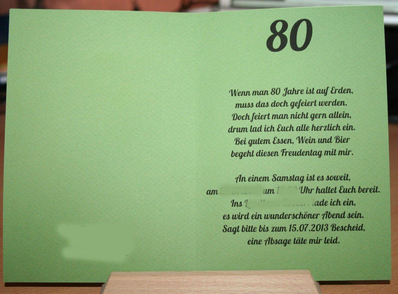 Einladung Zum 80 Geburtstag Texte 80 Geburtstag Text Fur